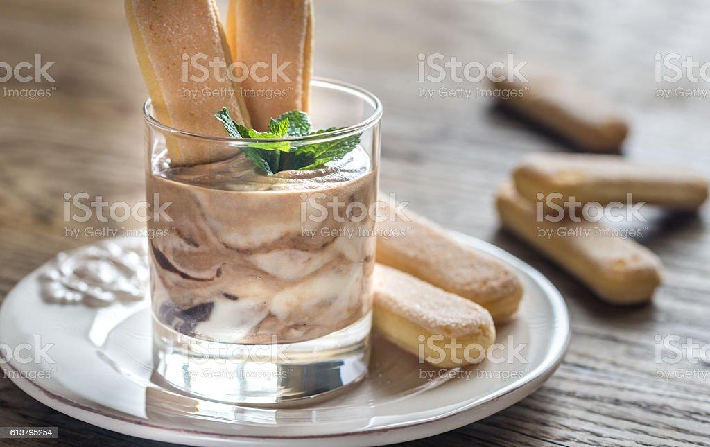 Chocolate tiramisu in the glass stock photo