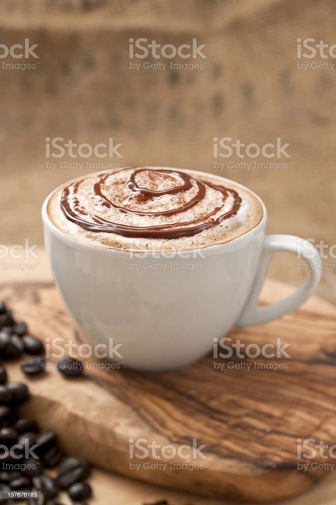 Chocolate topped Coffee royalty-free stock photo