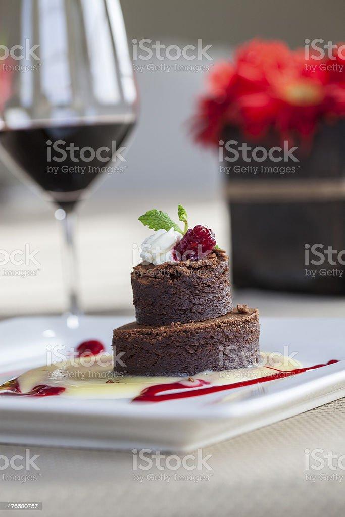 Chocolate Torte with Port Wine Sauce stock photo