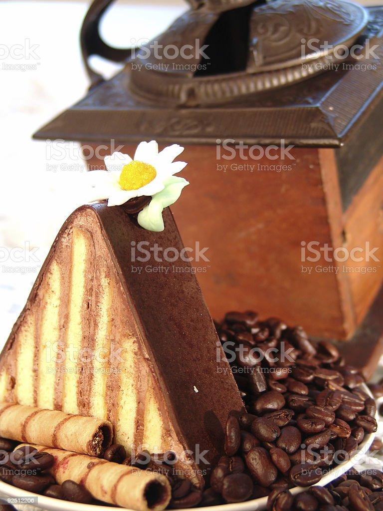 Chocolate Triangle on Coffee royalty-free stock photo