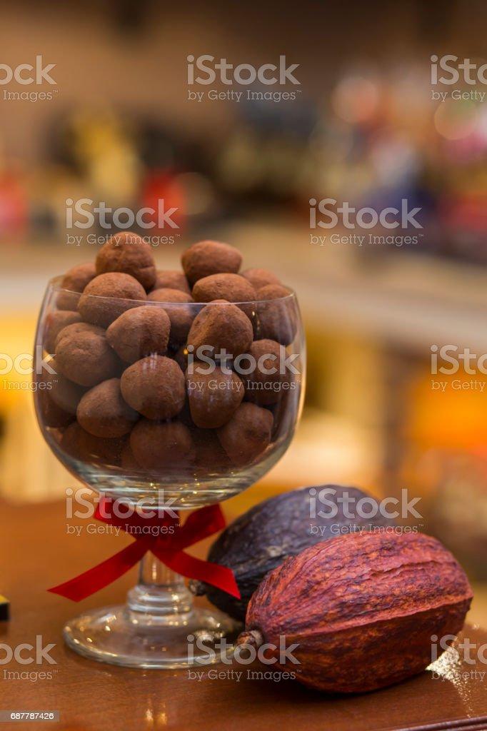 Chocolate truffle pralines stock photo