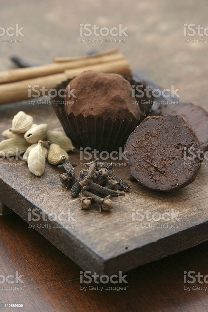 Chocolate Truffles with Cardamom, Cloves and Cinnamon royalty-free stock photo