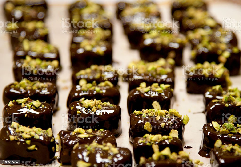 Chocolate truffles with pistachio royalty-free stock photo