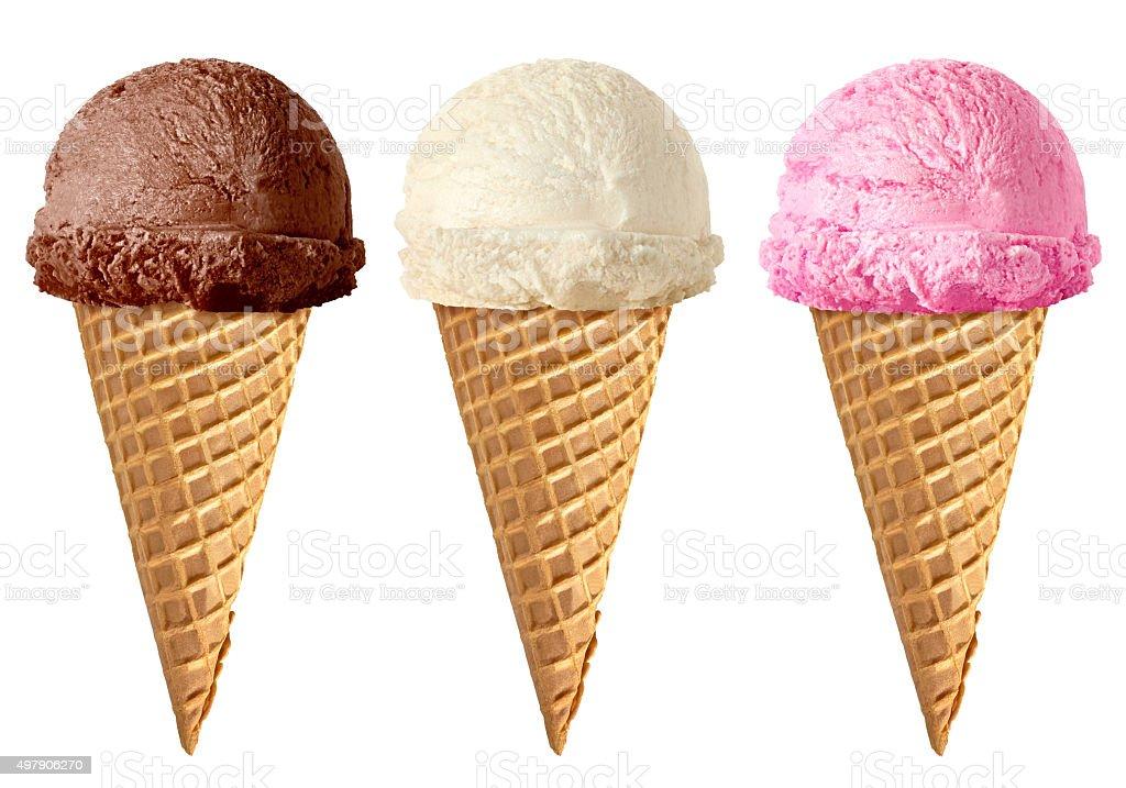 Chocolate, vanilla and strawberry Ice cream in cone stock photo