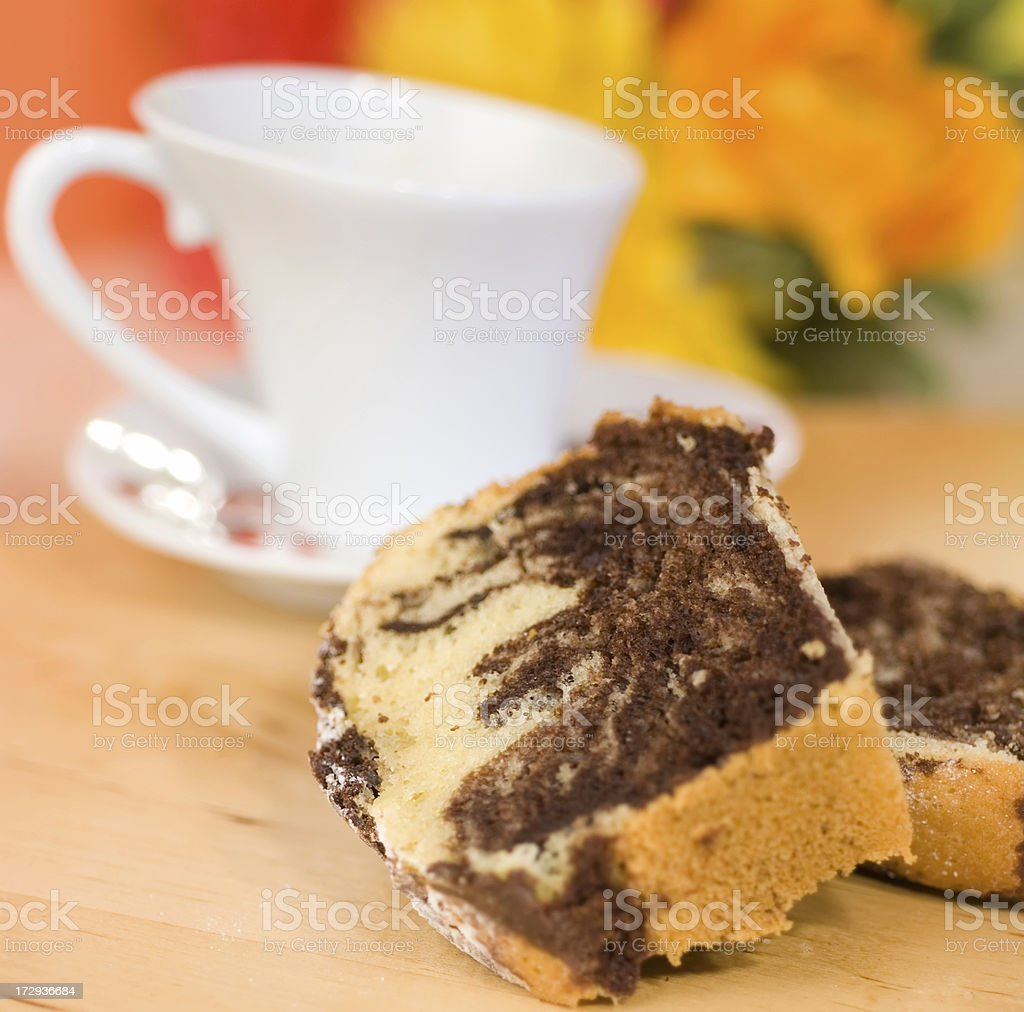 Chocolate vanilla cake stock photo