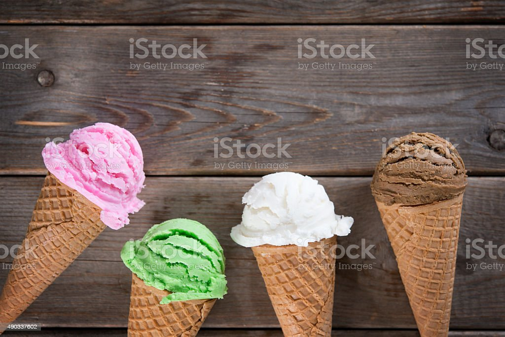 Chocolate, vanilla, matcha and strawberry ice cream stock photo