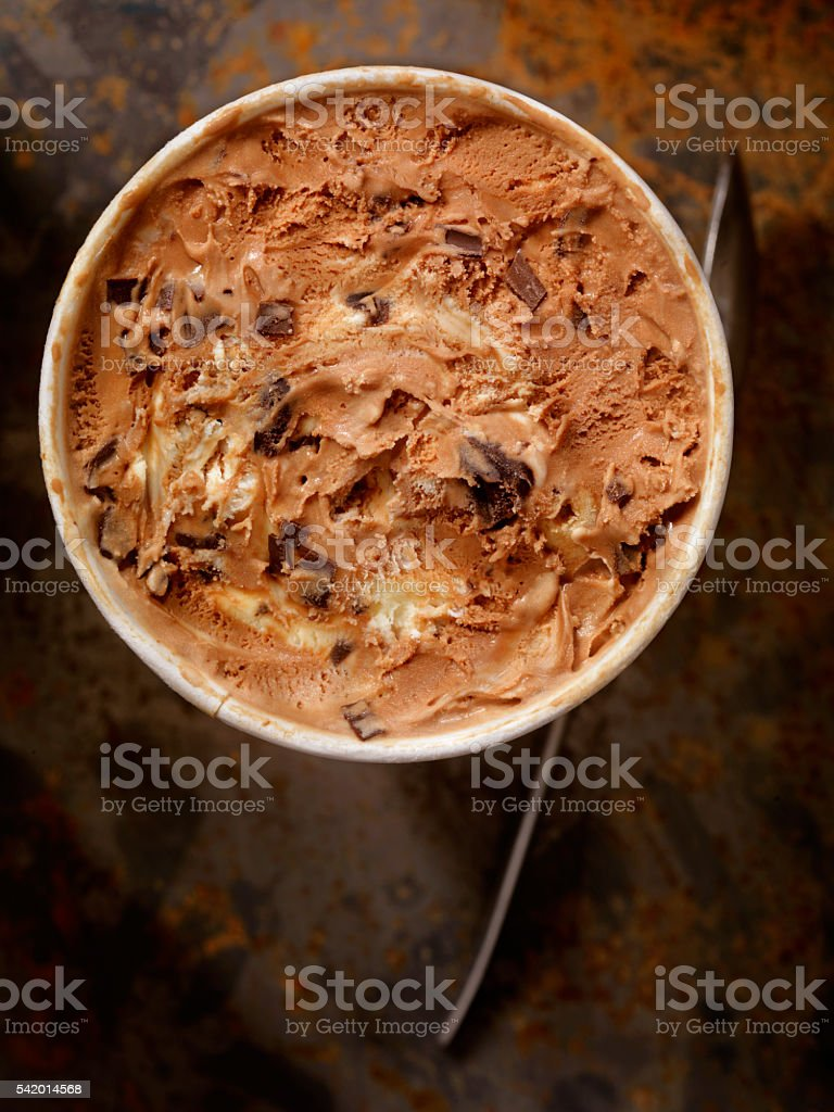 Chocolate, Vanilla Swirl with Chocolate Chunk Ice Cream stock photo