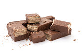 chocolate wafer blocks on a white background