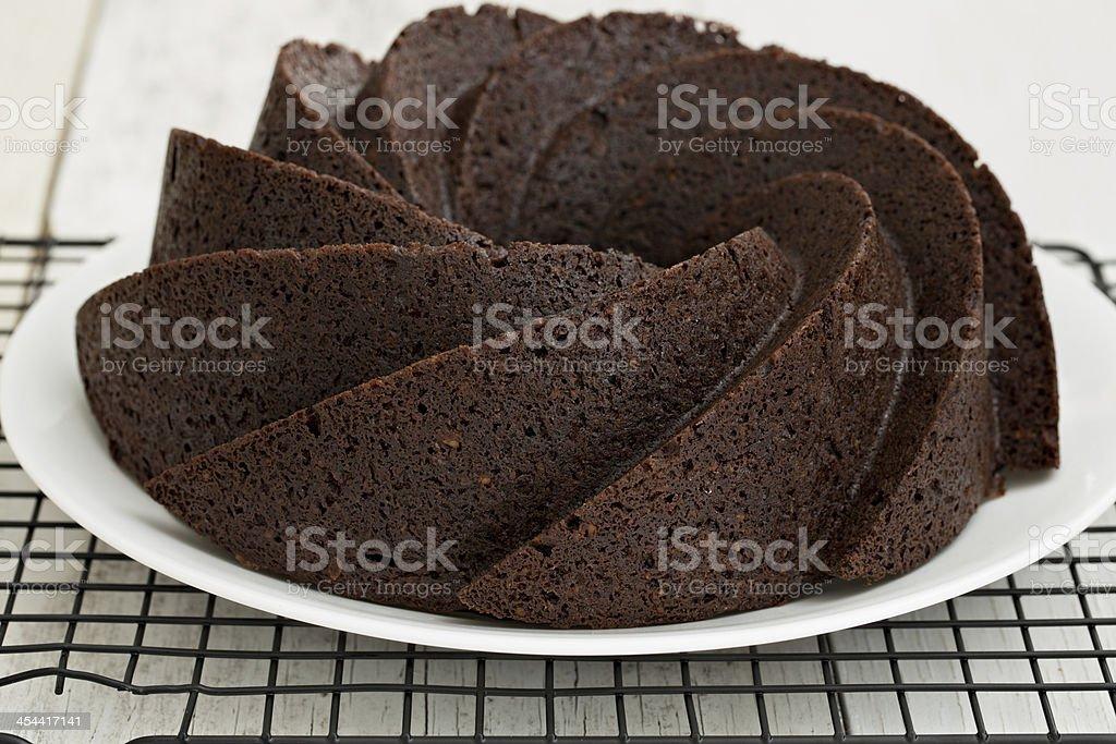 Chocolate Walnut  Fudge Bundt Cake royalty-free stock photo