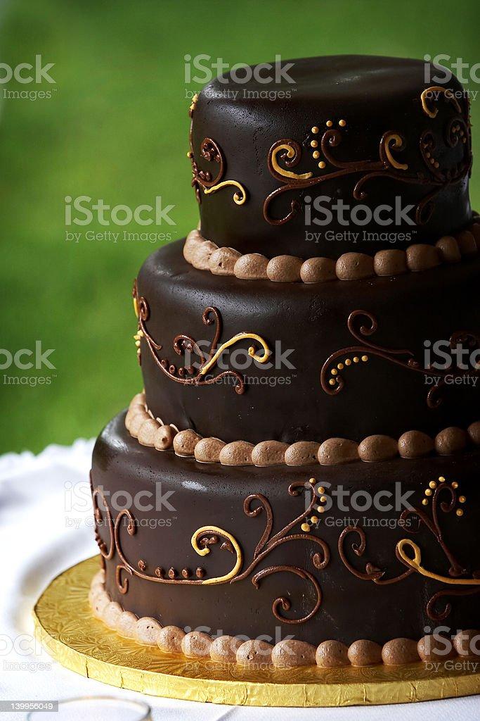 Chocolate wedding cake royalty-free stock photo