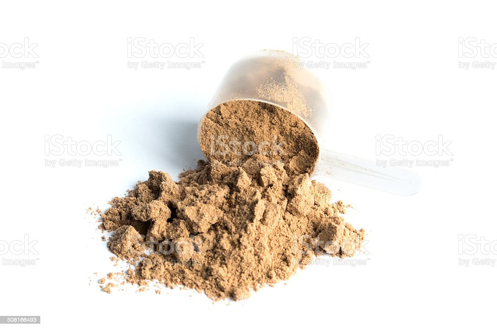 chocolate whey powder isolated on white background stock photo