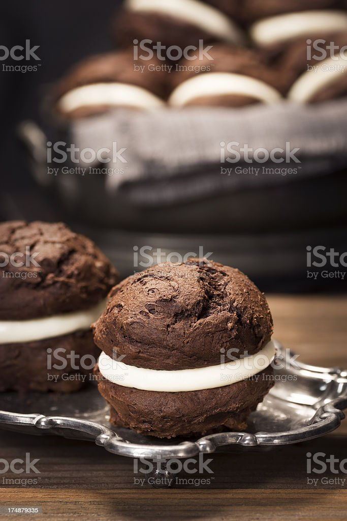 Chocolate Whoopie or Moon Pies for Dessert stock photo