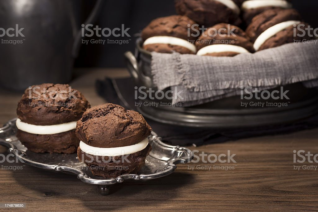 Chocolate Whoopie or Moon Pies on Table stock photo