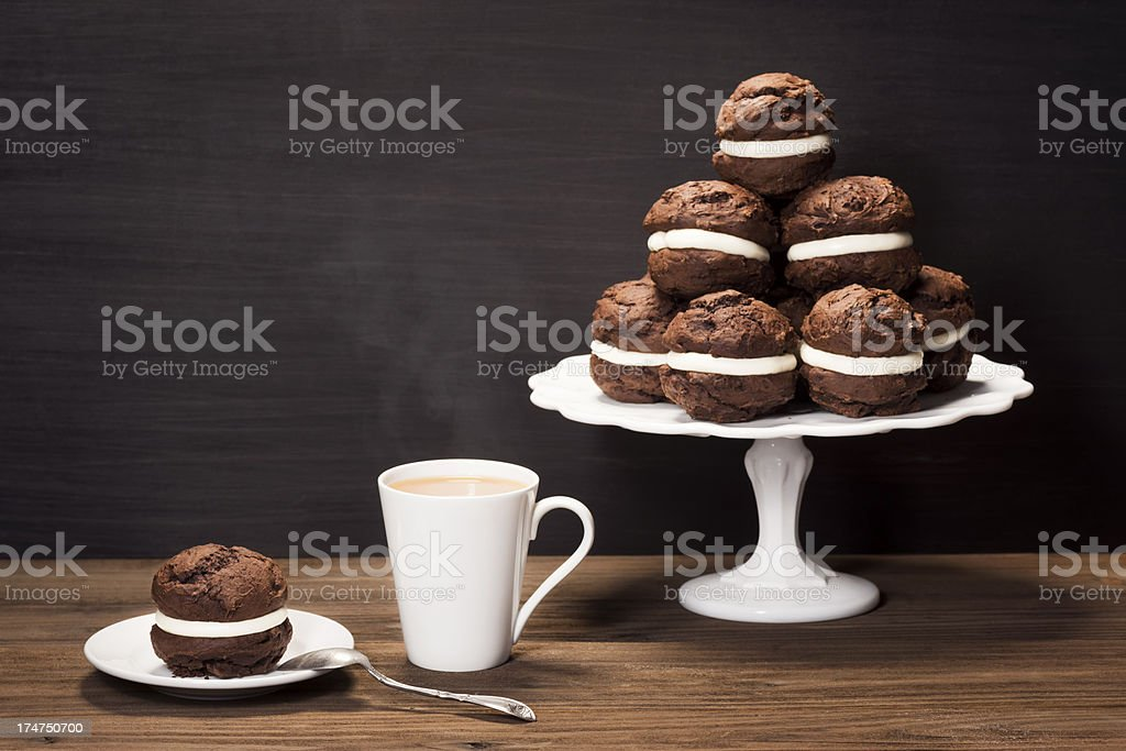Chocolate Whoopie or Moon Pies with Coffee stock photo
