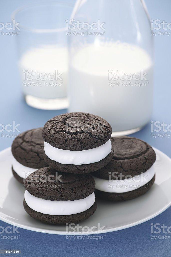 Chocolate Whoopie Pies and Milk stock photo