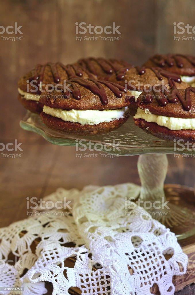 Chocolate whoopie with mascarpone. stock photo