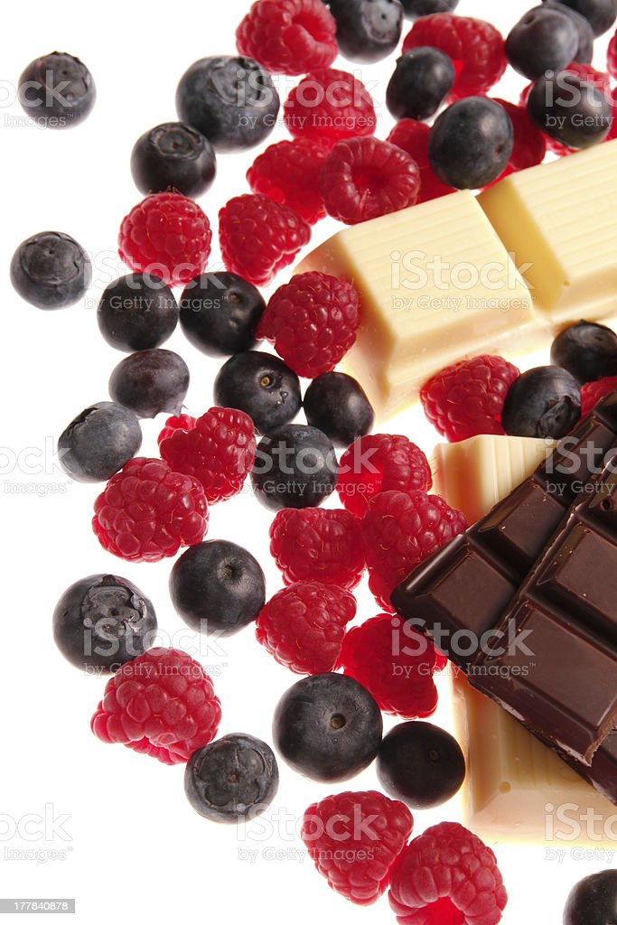 chocolate with berries royalty-free stock photo
