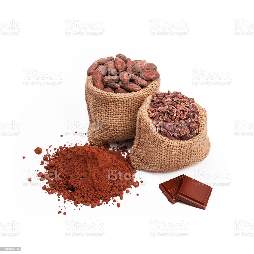 Chocolate with cacao, isolated stock photo
