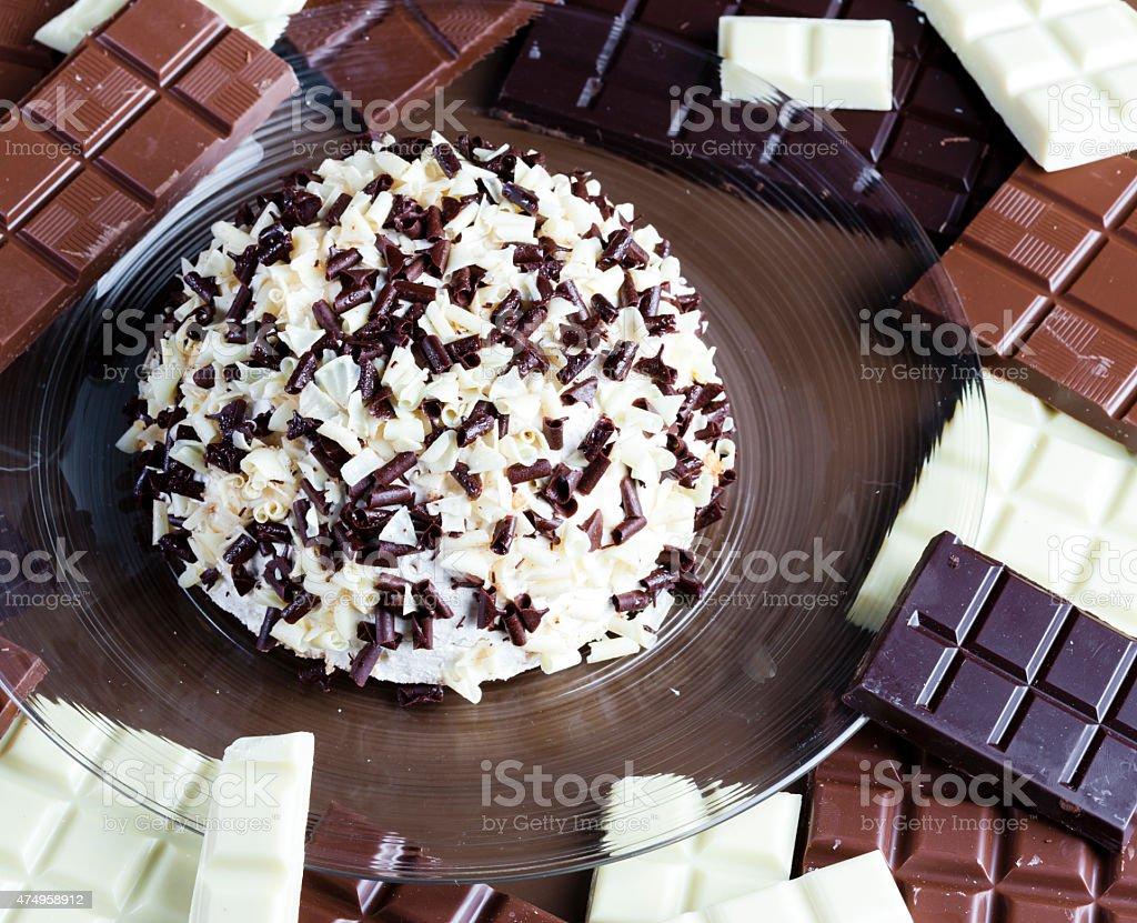chocolate with chocolate cake stock photo