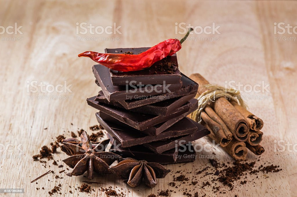 Chocolate with Different Spices stock photo