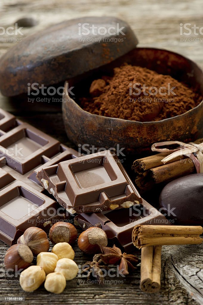 chocolate with ingredients stock photo