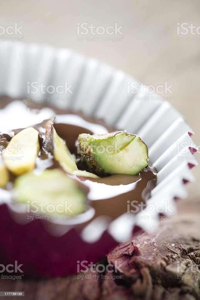 Chocolate with pistacios royalty-free stock photo