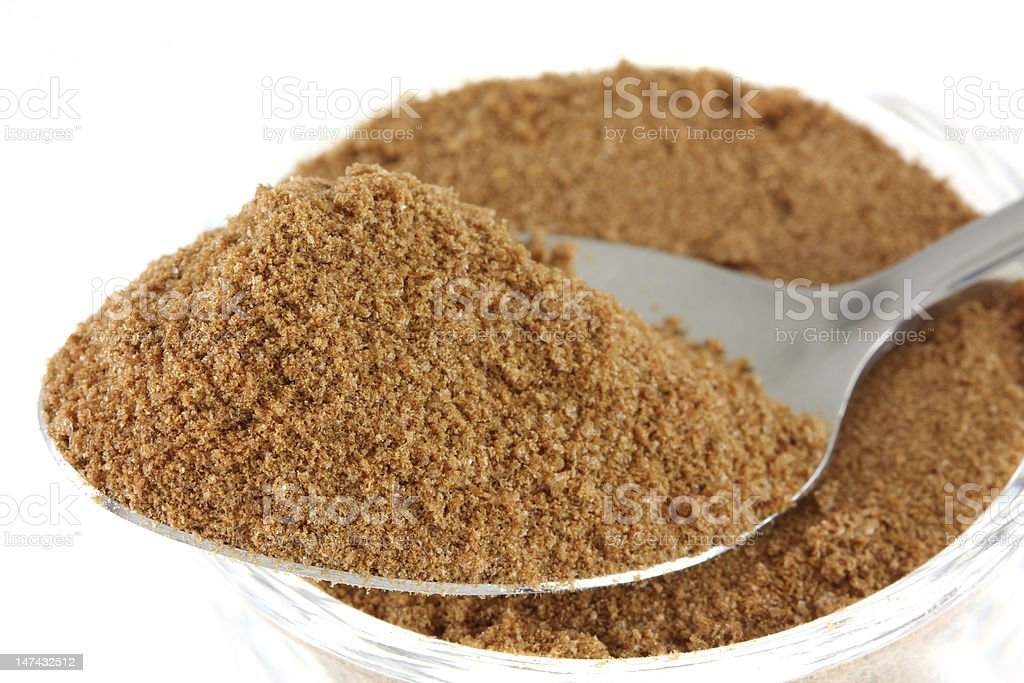 Chocolate (cocoa) with sugar and milk flavoring powder stock photo