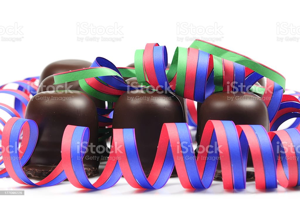 Chocolate-coated marshmallow treats stock photo