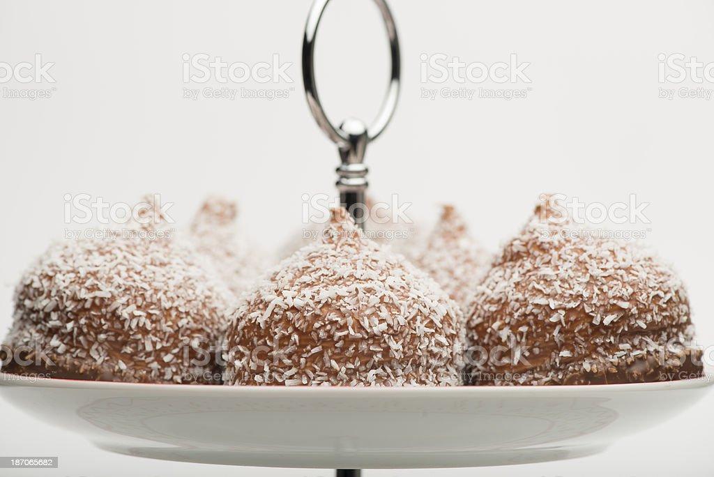 Chocolate-coated marshmallow treats (XXXLarge) stock photo