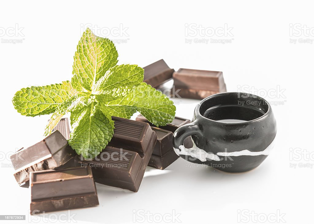 Chocolate,coffee and mint leaves royalty-free stock photo
