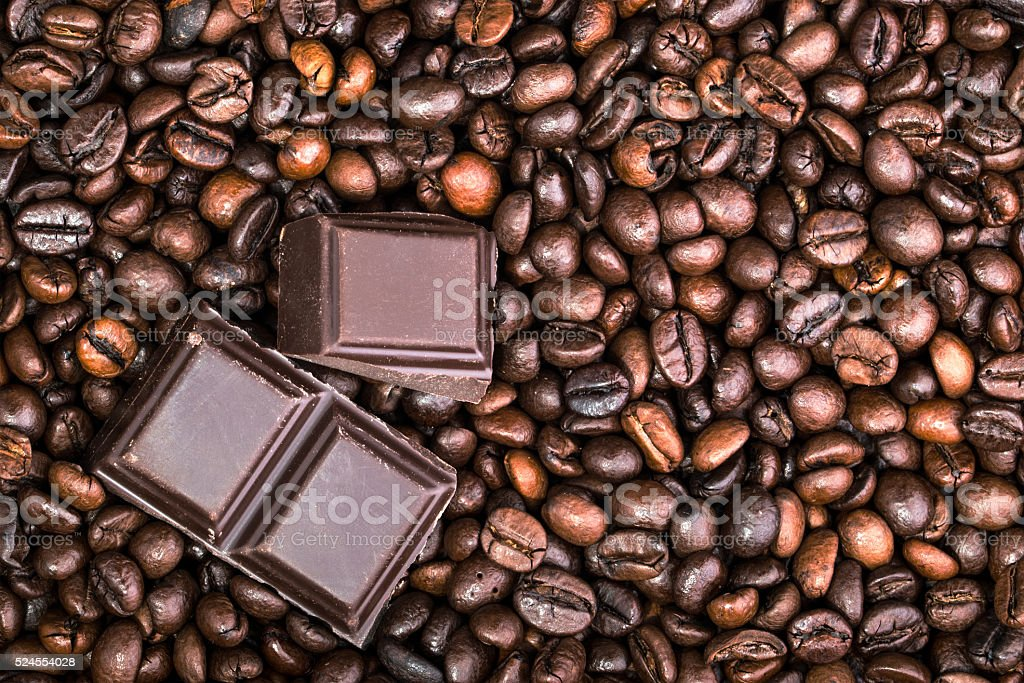 Chocolate-Coffee background: Close-up of a beans stock photo