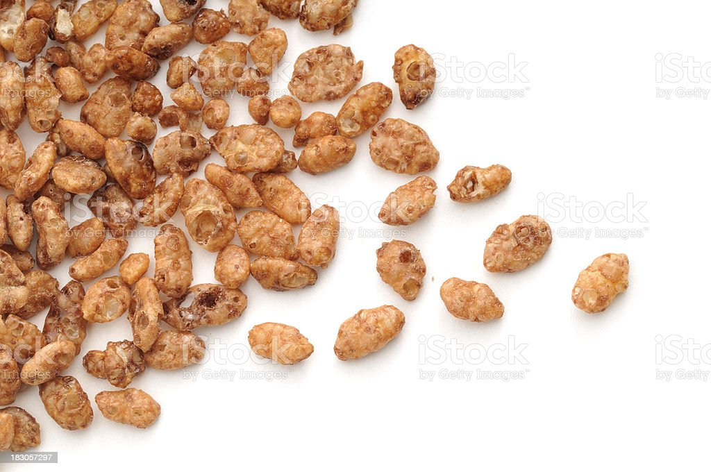 Chocolated Coated Crisped Rice cereal Scattered. stock photo
