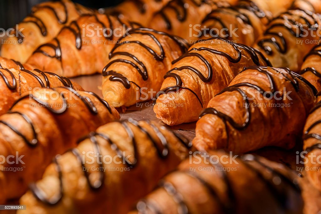 Chocolate-filled Croissants stock photo