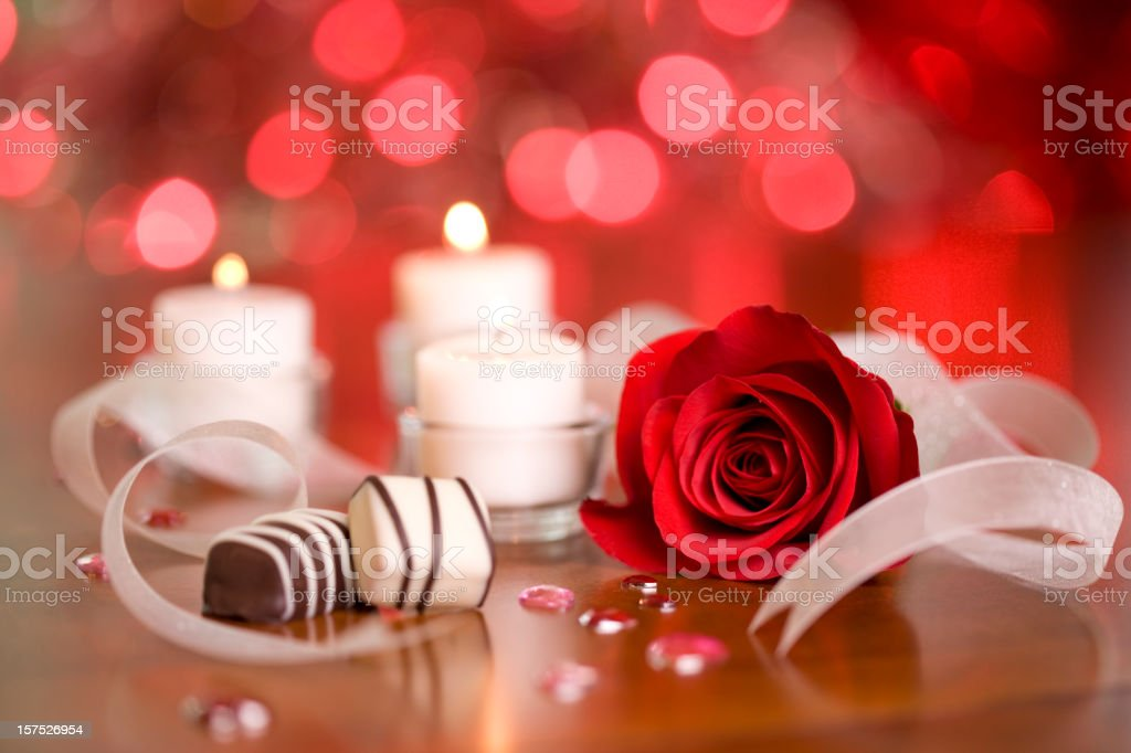 Chocolates and Candles stock photo