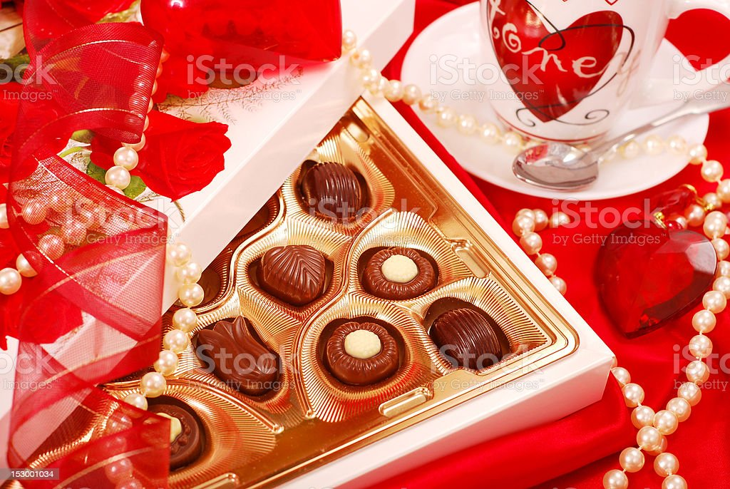 chocolates and coffee for Valentine royalty-free stock photo
