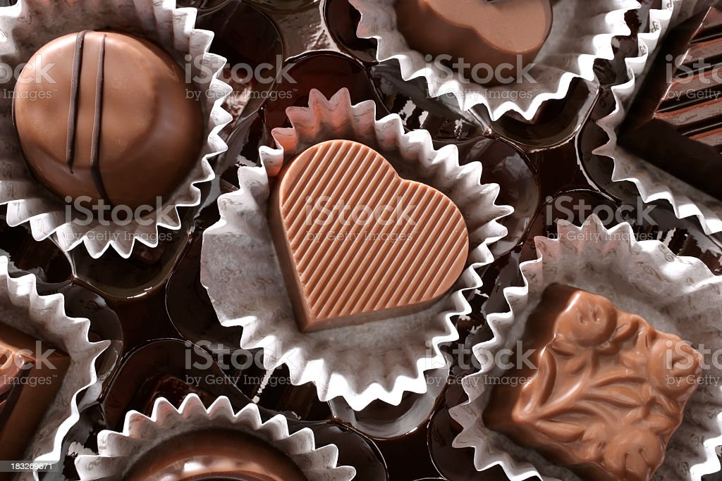 chocolates and love stock photo