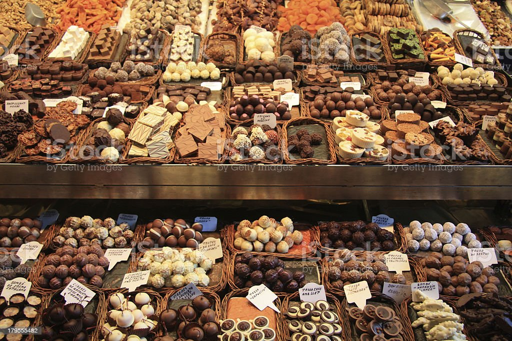 Chocolates and pralines on a market royalty-free stock photo