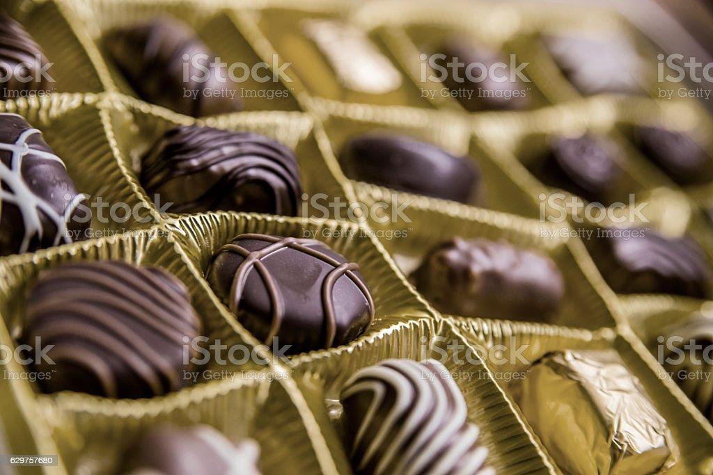 Chocolates box. Luxurious Chocolates in various  shapes stock photo