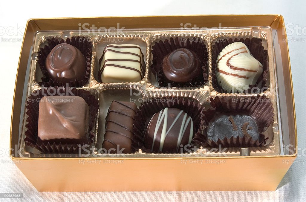 Chocolates in a box royalty-free stock photo