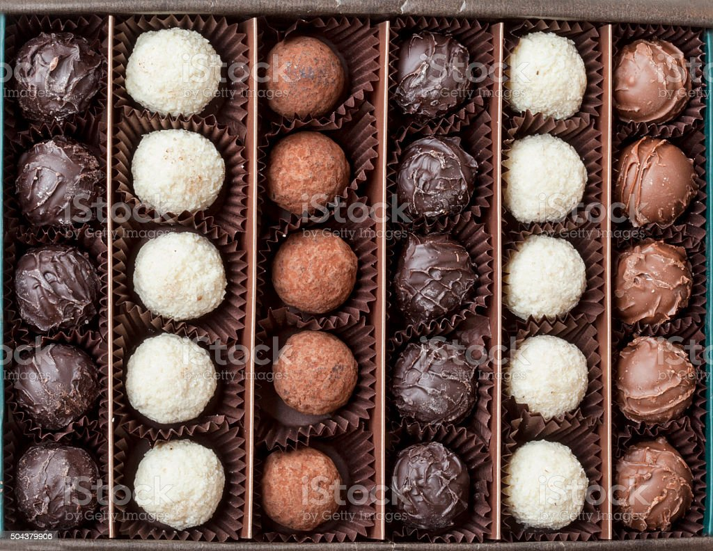 Chocolates in the box stock photo