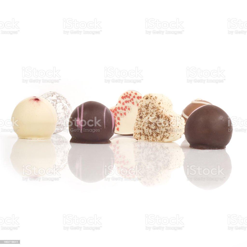 Chocolates isolated on white stock photo