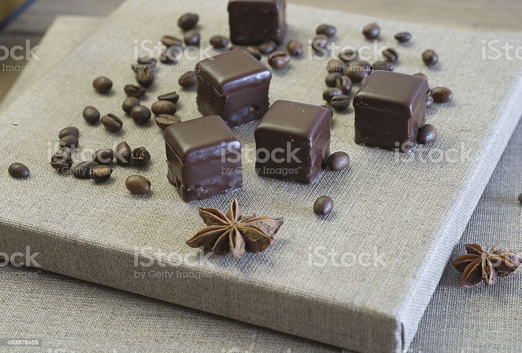 Chocolates on the canvas stock photo