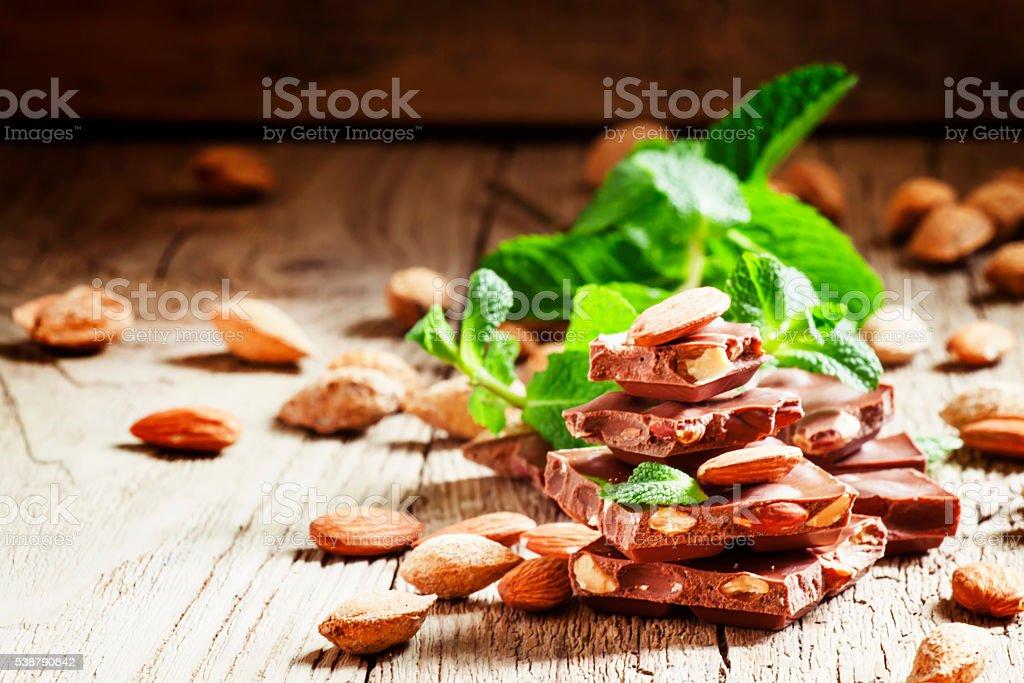 Chocolates with sweet almonds stock photo