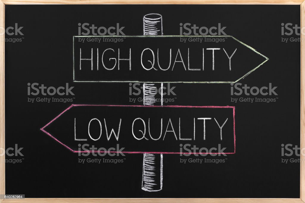 Choicе High or Low Quality on opposite arrows on Blackboard vector art illustration