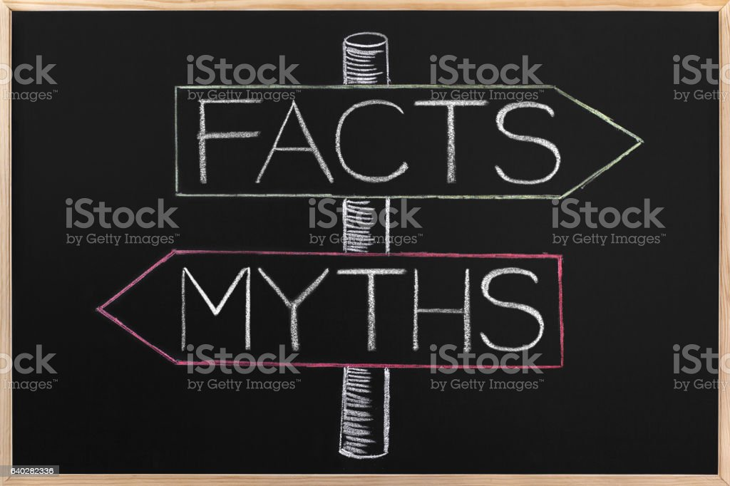 Choicе Myths or Facts wrriten on opposite arrows on Blackboard stock photo