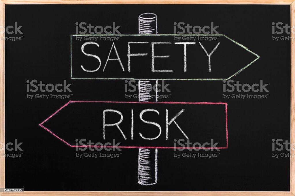 Choicе Safety or Risk wrriten on opposite arrows on Blackboard stock photo