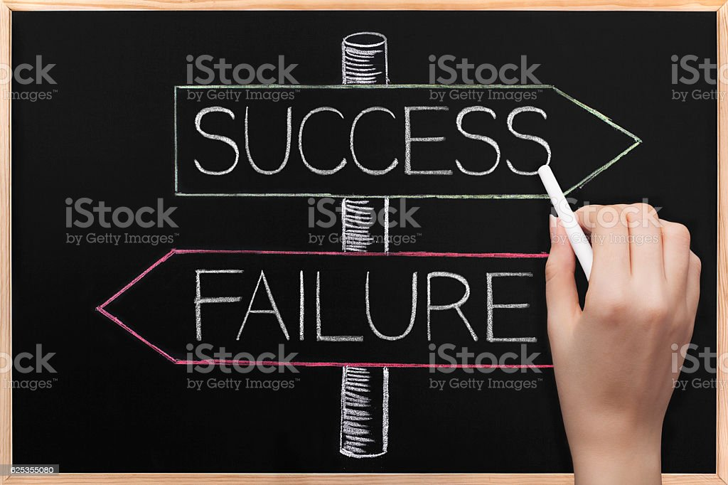 Choicе Success or Failure wrriten on opposite arrows on Blackboard stock photo