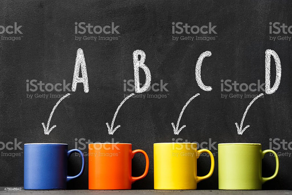 Choice a colorful coffee cup stock photo