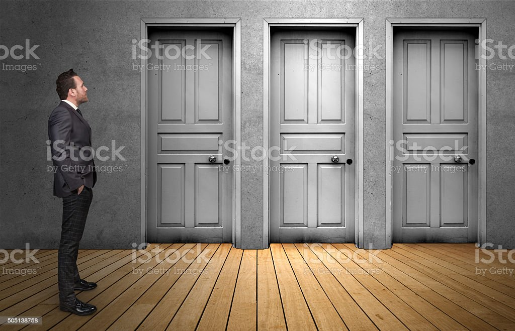 Choice a door stock photo