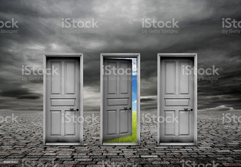 Choice door and change stock photo